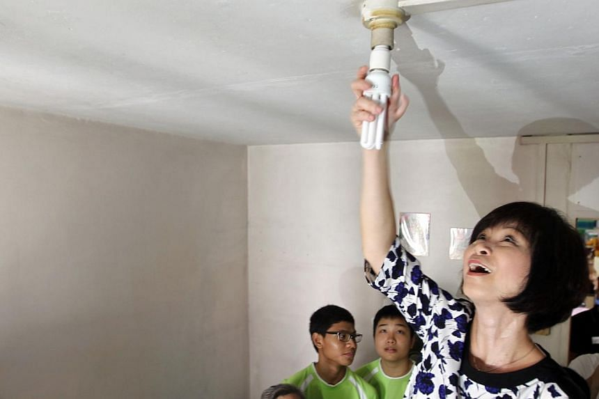 Mayor of South West District, Dr Amy Khor, helping to screw in energy-efficient light bulbs for a lower-income household, one of the beneficiaries of the Recycle-A-Bulb programme, during a house visit.Over the next six months, residents in the