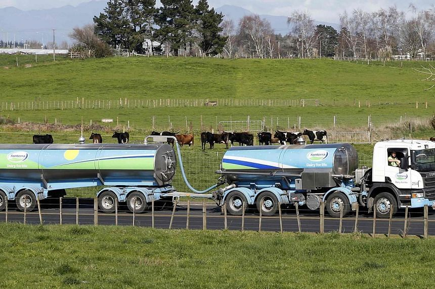 A Fonterra milk tanker arrives at Fonterra's Te Rapa plant near Hamilton, on Aug 6, 2013.Fonterra said on Monday, Jan 13. 2014, it was conducting a voluntary recall of bottles of cream distributed in New Zealand's North Island after tests showe