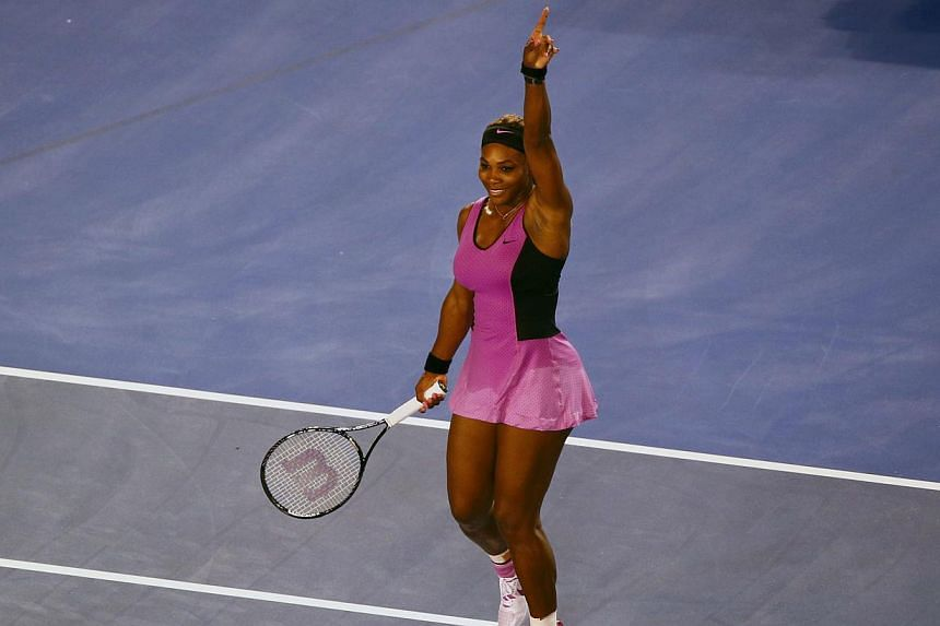 Serena Williams of the United States celebrates defeating Ashleigh Barty of Australia in their women's singles match at the Australian Open 2014 tennis tournament in Melbourne, on Jan 13, 2014. Serena Williams and Li Na led the march into the Austral