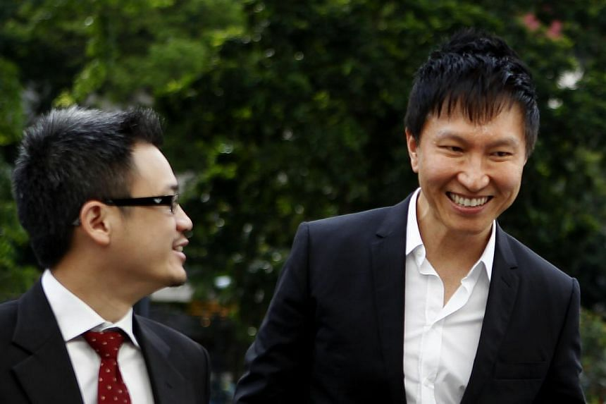 City Harvest Church funds were already used as early as in 2001 to fund the secular pop music career of founder Kong Hee's (right) wife Ho Yeow Sun, court documents showed on Tuesday.-- ST PHOTO: WONG KWAI CHOW