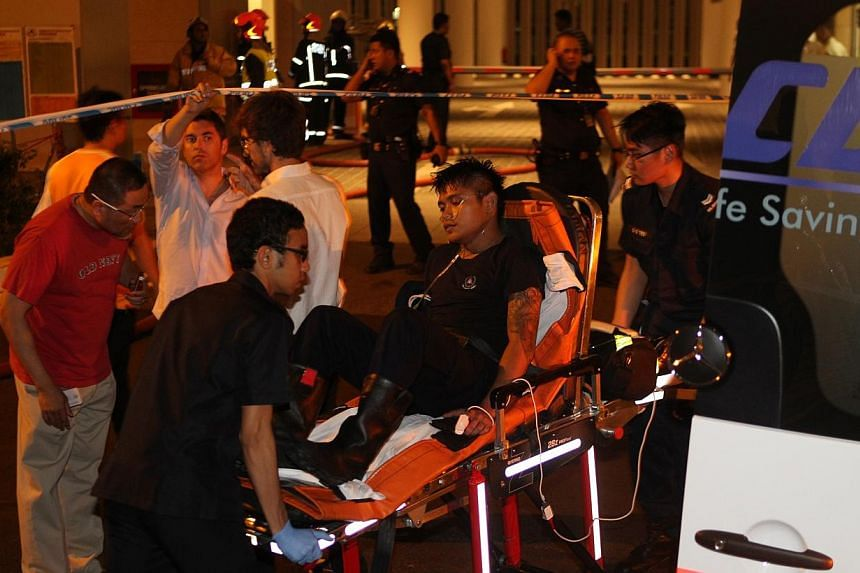 A fire broke out at a 65th floor unit of the Marina Bay Suites condominium late Monday night, forcing residents to be evacuated from their apartments. A Singapore Civil Defence Force (SCDF) personnel was taken away in an ambulance conscious.--