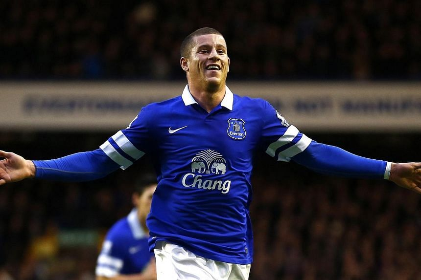 Everton's Ross Barkleycelebrates after scoring a goal against Queens Park Rangers during their English FA Cup football match at Goodison Park in Liverpool on Jan 4, 2014.Barkley has fractured a toe, the English Premier League football clu