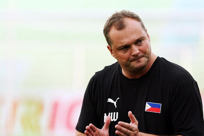 Philippines football coach Michael Weiss, on Dec 6, 2012.Weiss has been sacked as coach of the Philippines, the country's football federation said, ending a three-year stint in which he guided them to their highest-ever world ranking. -- TNP FI