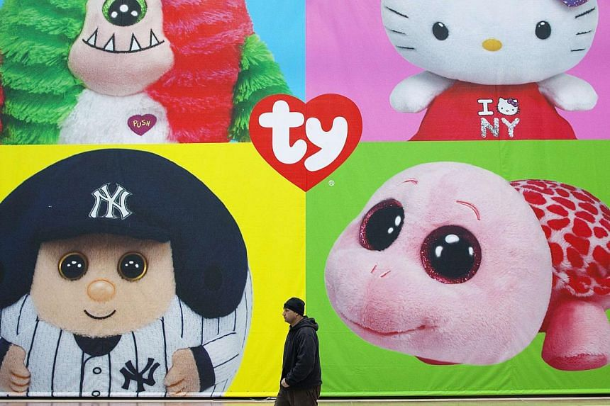 A man walks past a display for Ty Beanie Babies products at Toy Fair 2013 in New York, in this file photo from Feb 11, 2013. The billionaire creator of Beanie Babies, Ty Warner, will serve two years of probation, including mentoring high school stude