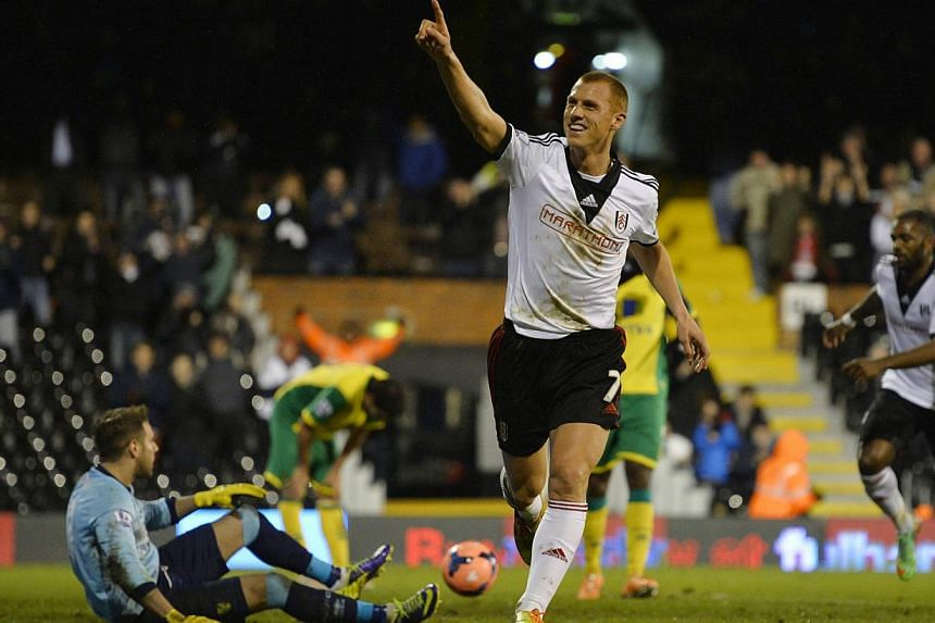Fulham's Steve Sidwell celebrating his goal against Norwich City during their English FA Cup match at Craven Cottage in London on Jan 14, 2014. Fulham forgot their Premier League struggles to sweep into the FA Cup fourth round with a 3-0 victory over