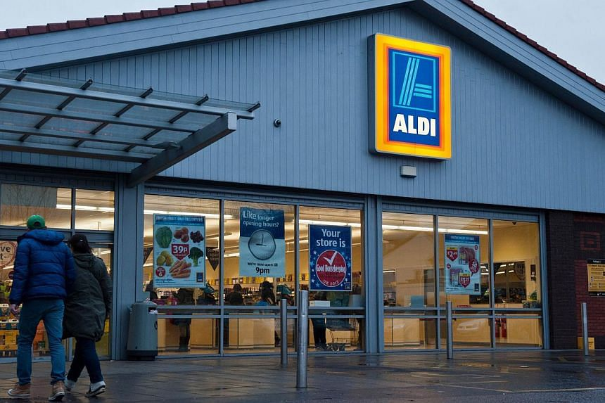 A picture shows a general view of a branch of British food retailer Aldi in London on Feb 9, 2013.Leading German firms including supermarket chain Aldi and carmaker Volkswagen stocked goods or used components made by forced labour in former Com