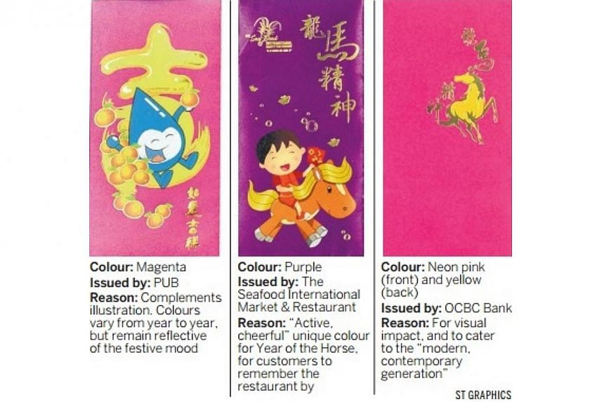 Major red packet makers in Singapore say they are taking more orders this year for hongbao in colours like gold, purple, sky blue, or even neon pink, as companies look to stand out and dazzle. -- ST GRAPHICS