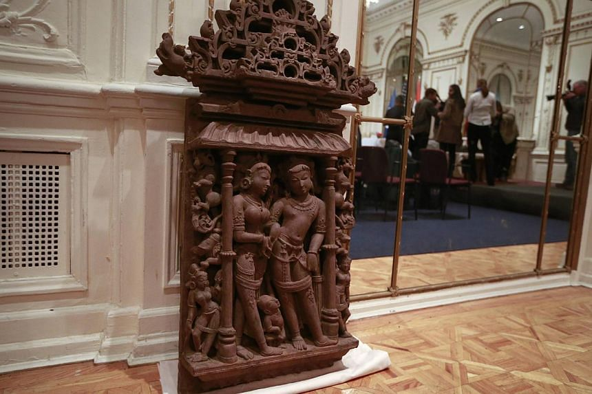 The 159kg Vishnu Lakshmi sandstone sculpture, one of three sandstone sculptures stolen from India valued at over US$1.5 million (S$1.9 million), is seen during a repatriation ceremony of the artefacts at the Indian consulate in New York on Jan 14, 20