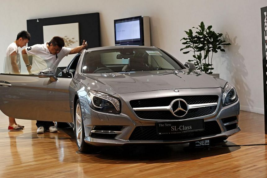 Mercedes-Benzis king of the road here after dethroning rival BMW as Singapore's top seller. -- ST FILE PHOTO: DESMOND LUI