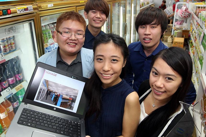 Winners of the Cheers Design Challenge. (Front from left) Jasmine Ong, 20, Nyssa Tien Li Yin, 20, (Back from left) Loo Guan Ting, 20, Tay Ji Dong, 19, and Tristan Tan, 20, from Nanyang Polytechnic School of Design. Their winning design will be implem