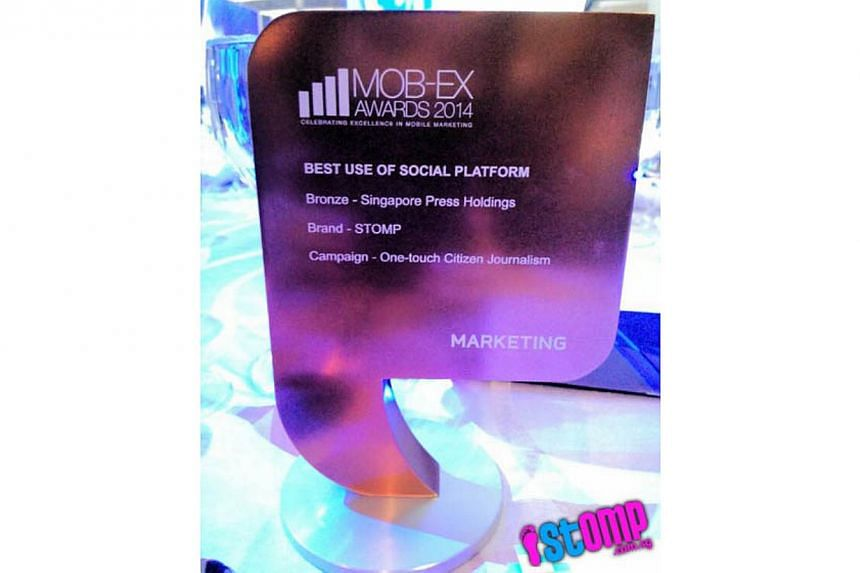 Stomp clinched two awards at the Mob-Ex Awards 2014, including the coveted Gold award in the Best in Original Content category. -- PHOTO: STOMP