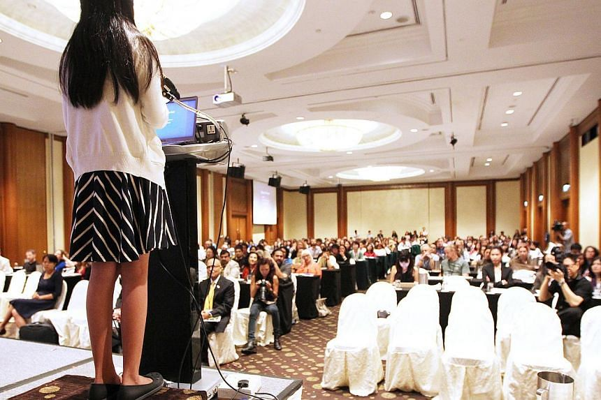 The 10-year-old girl took a significant step in her activism by delivering the keynote address at the Asia for Animals Conference in front of an international audience and Law and Foreign Minister K. Shanmugam. -- ST PHOTO: ONG WEE JIN