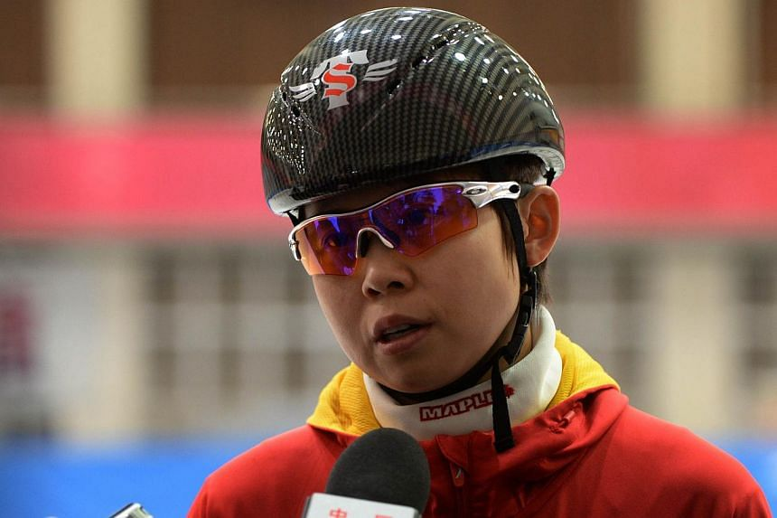 Chinese short track speed skater Wang Meng during an interview after a practice session in Beijing, on Dec 20, 2013. China's most decorated Winter Olympian broke her ankle in training on Thursday, Jan 16, 2014, a report said, leaving her participatio