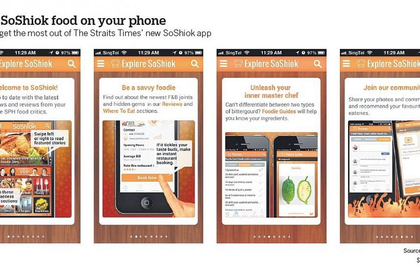 Just download the new Straits Times SoShiok food app and have access to restaurant recommendations and handy recipes on the iPhone. -- ST GRAPHICS