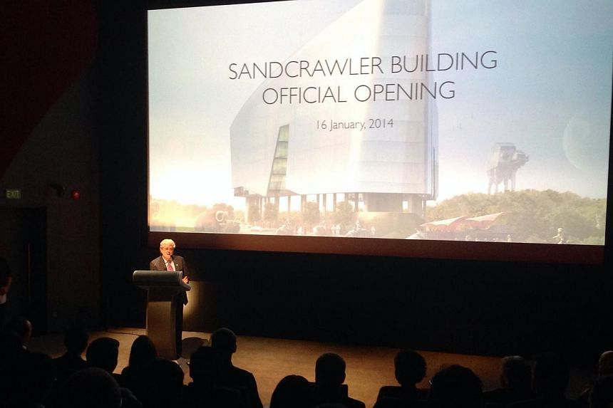 Filmmaker George Lucas speaking at the opening of the Lucasfilm Sandcrawler Building on Jan 16, 2014. -- ST PHOTO: GOH CHIN LIAN