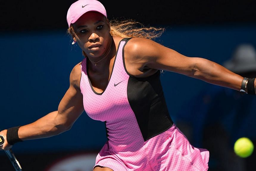 Serena Williams of the United States plays a shot during her women's singles match against Slovakia's Daniela Hantuchova on Day Five of the 2014 Australian Open tennis tournament in Melbourne on Jan 17, 2014. Williams set a new record of 61 Australia