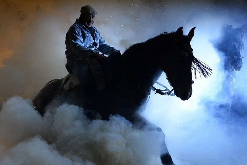 A horse and rider walks over a burning pyre in the central Spanish village of San Bartolome de Pinares on Jan 16, 2014 during celebrations for the feast of Saint Anthony, patron saint of animals. -- PHOTO: AFP