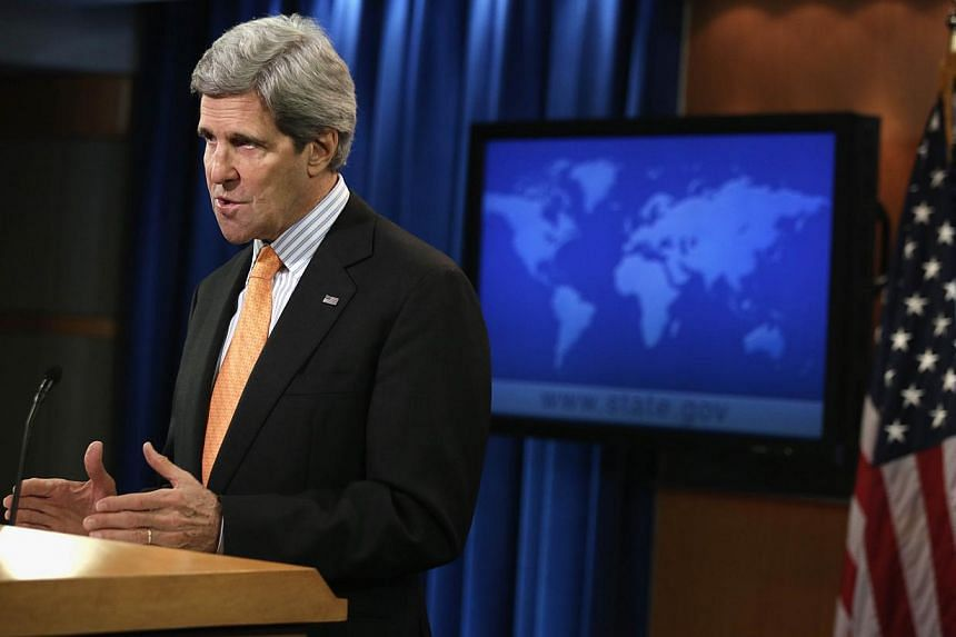 U.S. Secretary of State John Kerry makes a statement on Syria at the State Department on Jan 16, 2014 in Washington, DC. On the eve of a key meeting, United States (US) Secretary of State John Kerry on Thursday made a powerful plea to the divided Syr