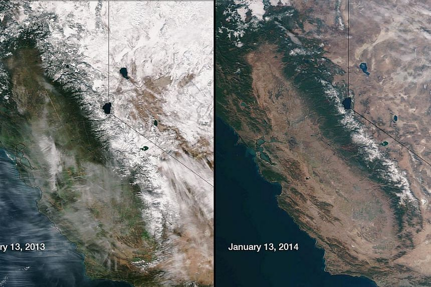 This image obtained from the National Oceanic and Atmospheric Administration shows snow and water equivalents in the Sierra Nevada mountain range in California abnormally low for January 2014 compared to the same time in 2013. California Governor Jer