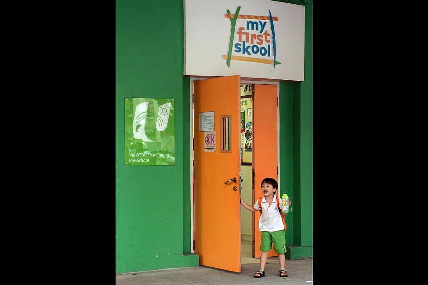 A child at the entrance of the My First Skool branch on Toa Payoh Lorong 4. One of its teachers was arrested for allegedly abusing a boy last year.