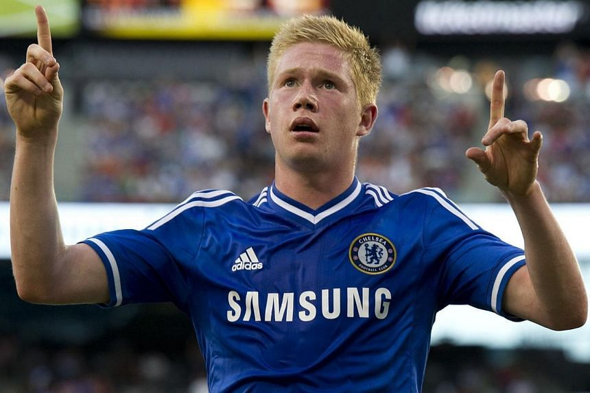 Chelsea's Kevin De Bruyne celebrating his goal against AC Milan during a 2013 International Champions Cup match on at the MetLife stadium in East Rutherford, New Jersey on Aug 4, 2013. VfL Wolfsburg have completed the signing of talented winger