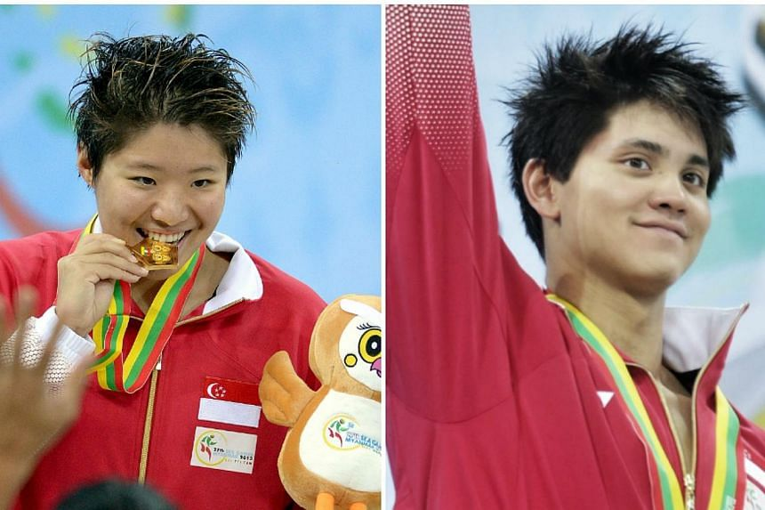 Singapore swimmers Joseph Schooling and Tao Li were crowned the Singapore Swimming Association's (SSA's) male and female swimmer of the year respectively on Saturday night. -- ST FILE PHOTOS: KEVIN LIM AND LIM SIN THAI