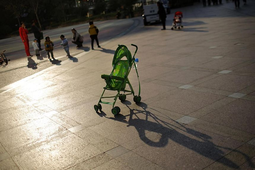 A baby stroller at a public area in downtown Shanghai on Nov 19, 2013. China has broken up a gang that offered illegal services to determine the sex of unborn children so that women could abort those they did not want, the country's health ministry s