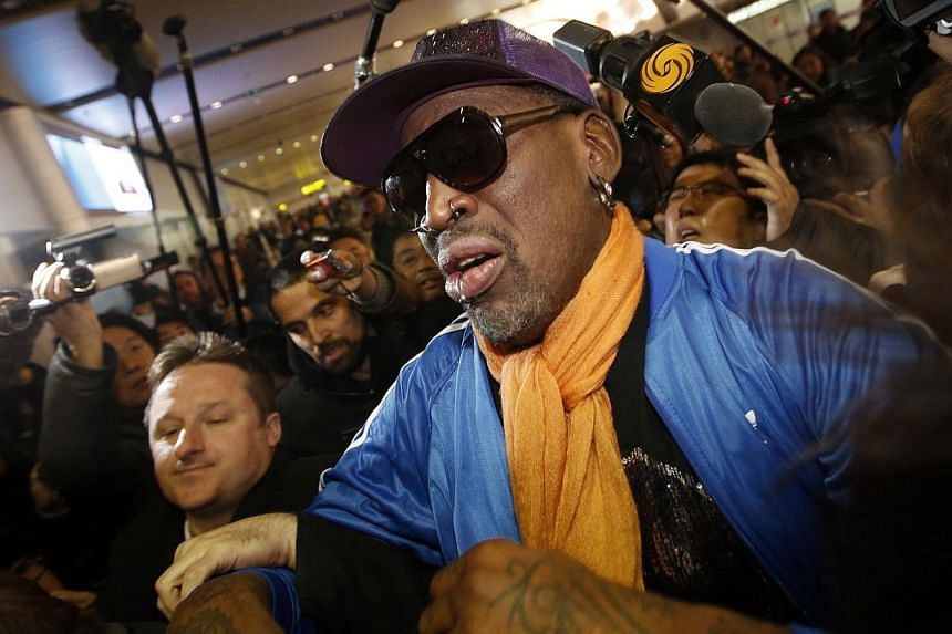 Retired US basketball star Dennis Rodman at Beijing Capital International Airport right after his latest trip to North Korea on Jan 13, 2014. Rodman, facing a backlash for a series of visits to North Korea, has checked himself into an alcohol-rehab f