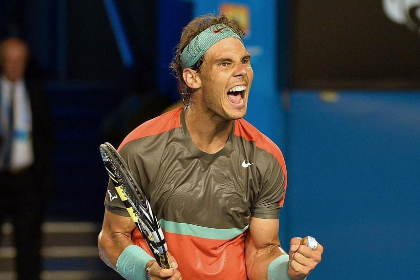 Spain's Rafael Nadal celebrating his victory in his men's singles match against France's Gael Monfils on day six of the 2014 Australian Open tennis tournament in Melbourne on Jan 18, 2014. -- PHOTO: AFP