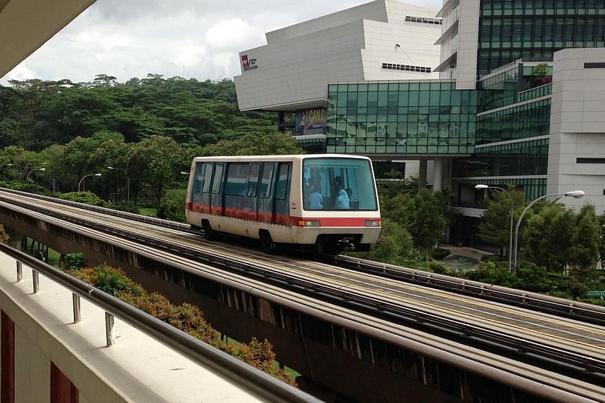 Train services on the Bukit Panjang Light Rail Transit (LRT) were disrupted for about an hour on Sunday morning.-- ST FILE PHOTO:WALTER SIM