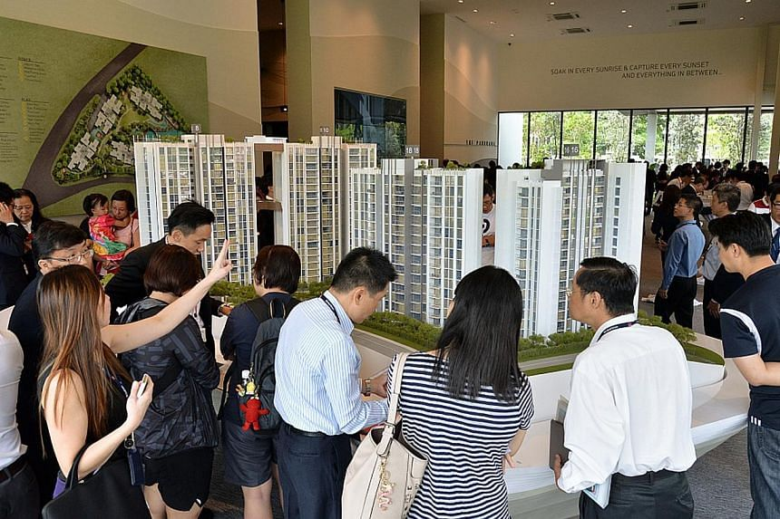 Sales at The Panorama, a mass-market condominium project in Ang Mo Kio drew a lukewarm response from homebuyers today, with just half of the 120 units released for sale being booked. -- PHOTO:WHEELOCK PROPERTIES