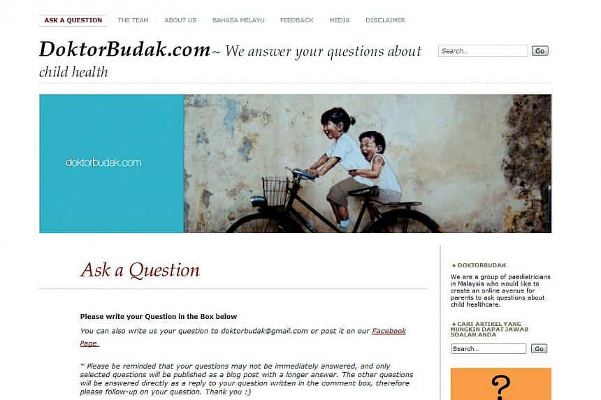 DoktorBudak.com, a website run by a group of medical experts giving free advice to parents on children health issues in Malaysia. -- SCREENGRAB OF DOKTORBUDAK.COM