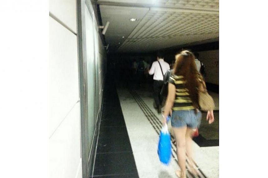 Commuters using a linkway connecting the North-East Line to the East-West Line at Outram Park MRT station were reportedly hit by a blackout this morning, on Jan 20, 2014. -- PHOTO: STOMP