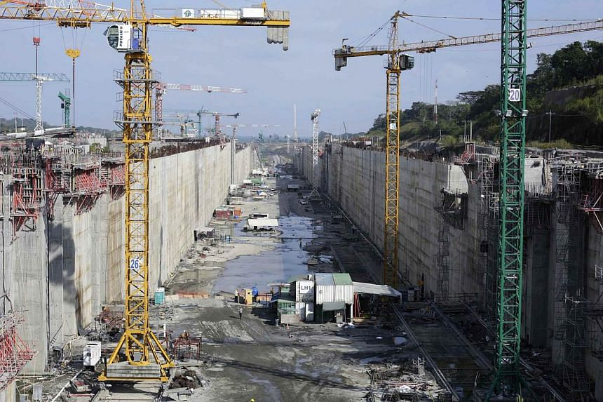 A view of the construction site of the Panama Canal Expansion project on the Atlantic side on the outskirts of Colon City, on Jan 15, 2014.Work was expected to continue Monday on a mega-project to expand the Panama canal - a key waterway for wo