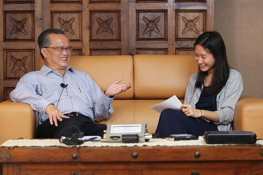 Oral history specialist Denise Ng (right) interviewing Mr Ronnie Poon Beng Choon, Singapore Press Holdings' vice-president, commercial sales, and English editor of racing publication Victory Trail. He was being interviewed on the history of print med
