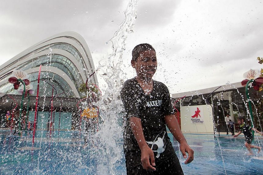 Rizdie Mohd Idil braces himself for the jets of water at a new children's play area at Gardens by the Bay.Families now have another reason to head to Gardens by the Bay, where the Far East Organization Children's Garden was launched yesterday