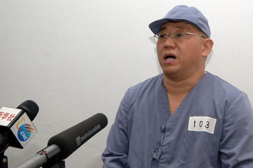 Mr Kenneth Bae, a Korean-American Christian missionary appears before a limited number of media outlets in Pyongyang in this undated photo released by North Korea's Korean Central News Agency (KCNA) on Jan 20, 2014.Imprisoned in North Korea for