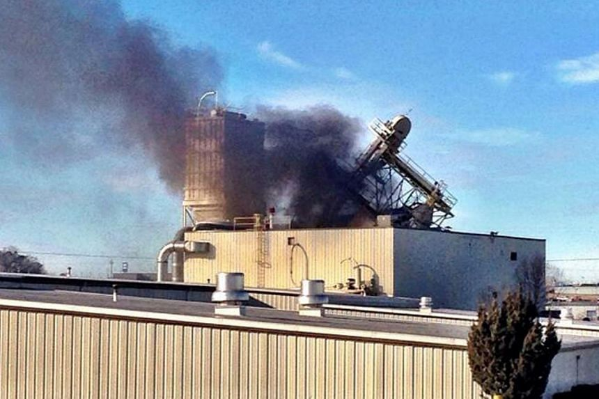 International Nutrition, an Omaha animal feed processing plant, is seen after an explosion in this picture taken by Ofc. Mike Bossman, courtesy of the Omaha Police Department, in Omaha, Nebraska, Jan 20, 2014.An explosion and fire on Monday at