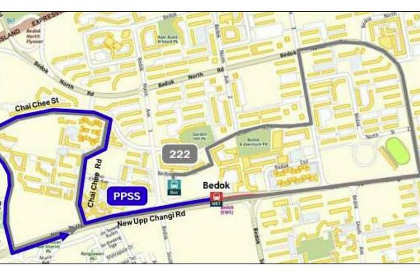 Peak Period Short Service for SBS Transit townlink bus service 222:Bedok MRT Station to Chai Chee Drive.--PHOTO: LTA