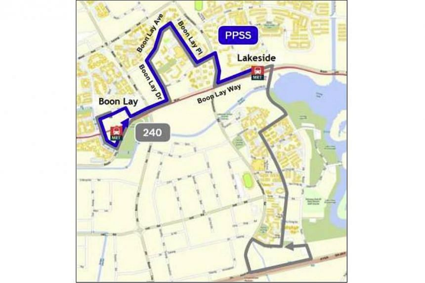 Peak Period Short Service for SBS Transit feeder bus service 240:Lakeside MRT Station to Boon Lay MRT Station.--PHOTO: LTA