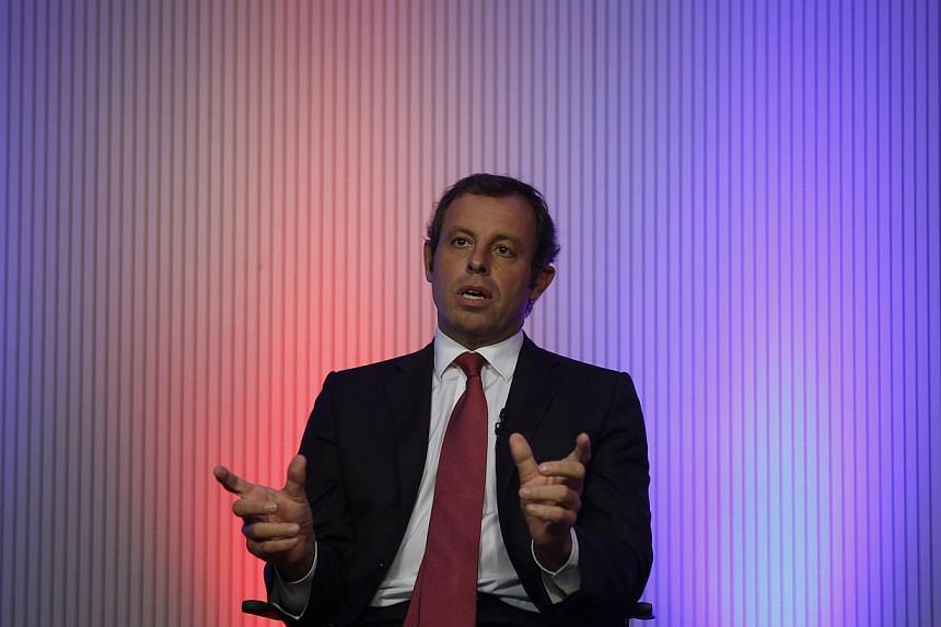 Barcelona president Sandro Rosell at a TV interview after the anouncement of the decision on a new stadium, in Barcelona on Jan 20, 2014.Rosell dismissed the idea of building a new stadium elsewhere in the Catalan city and instead proposed that