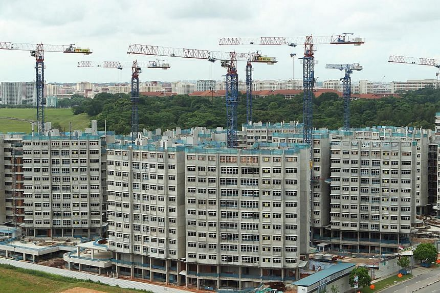 """Ongoing construction of Fernvale Riverbow Build-To-Order (BTO) flats at Fernvale Link. All new Housing Board flats will come with a set of """"eco-features"""" for a greener living environment and to support the national commitment to sustainable developme"""