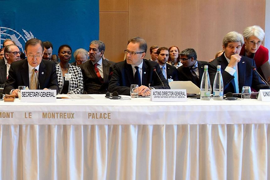 UN Secretary General Ban Ki Moon (far left) opens the so-called Geneva II peace talks as US Secretary of State John Kerry (second right) listen US Under Secretary of State for Political Affairs Wendy Sherman (far right), on Jan 22, 2014, in Montreux.