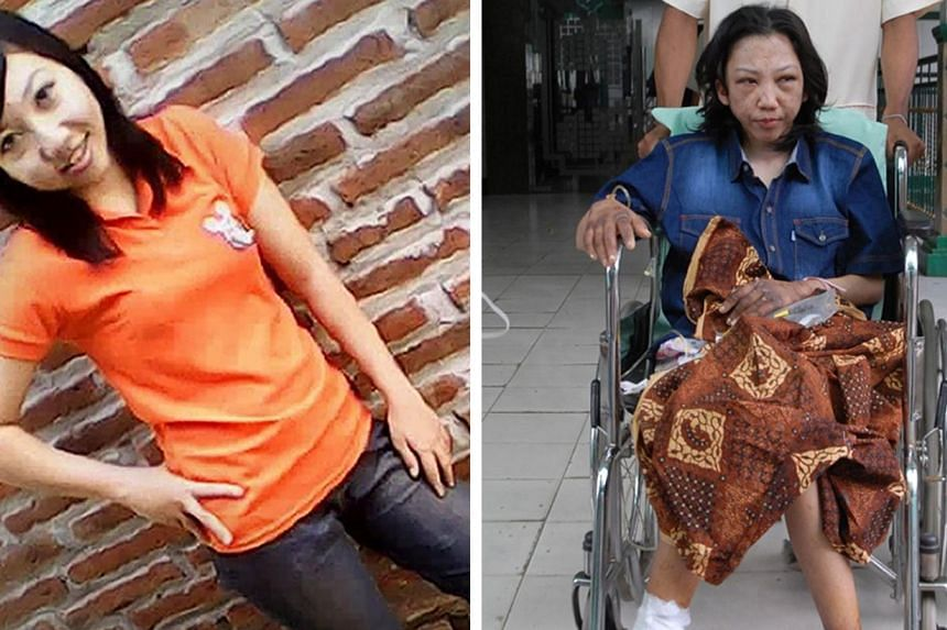 This combo shows an undated handout photograph provided by her family and released by Indonesia's Migrant Care on Jan 22, 2014, shows a recent undated image of Indonesian maid Erwiana Sulistyaningsih (left) and the same girl sitting in a wheelchair (