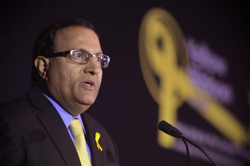 Minister in the Prime Minister's Office S. Iswaran speaking at the 10th anniversary gala dinner for the Yellow Ribbon Fund, held at the Ritz Carlton Hotel on July 20, 2013. Mr Iswaran, who is also Second Minister for Home Affairs and Trade and Indust