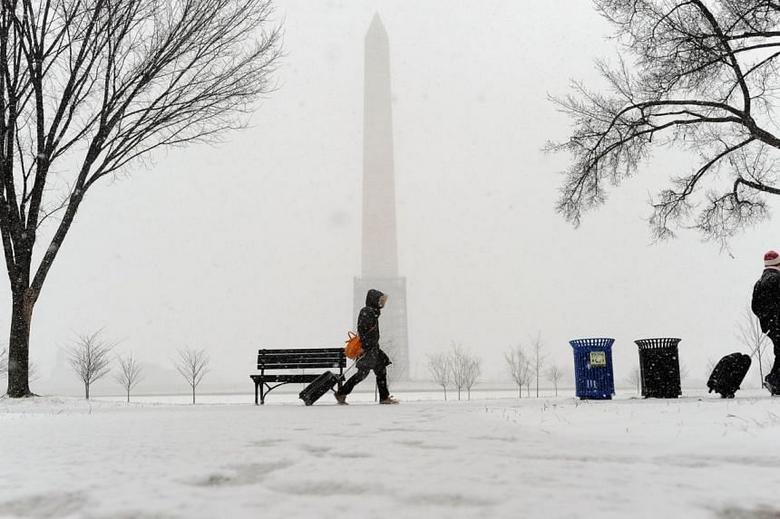 A couple haul their suitcases as they make their way under a snowfall on Jan 21, 2014, in Washington, DC. -- PHOTO: AFP