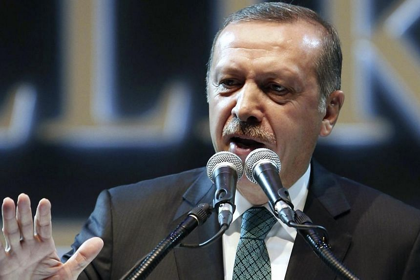 Turkey's Prime Minister Recep Tayyip Erdogan addresses a meeting in Istanbul on Jan 17, 2014. Turkey launched a mass new purge of the police and judiciary on Wednesday, Jan 22, 2014, as parliament debates controversial reforms that have hei