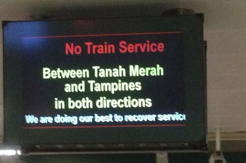 Train service between Tampines and Tanah Merah on the East-West line was disrupted on Wednesday night, at about 10pm but was back up again before 11.30pm. -- ST PHOTO: ONG HWEE HWEE