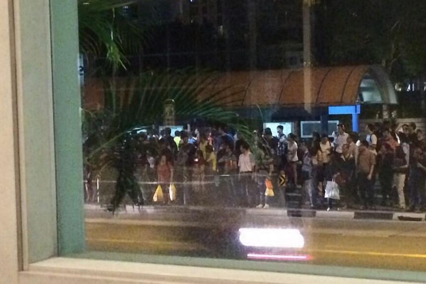 The crowd at a bus stop outside Tanah Merah MRT station. -- PHOTO: TWITTER OF FENG