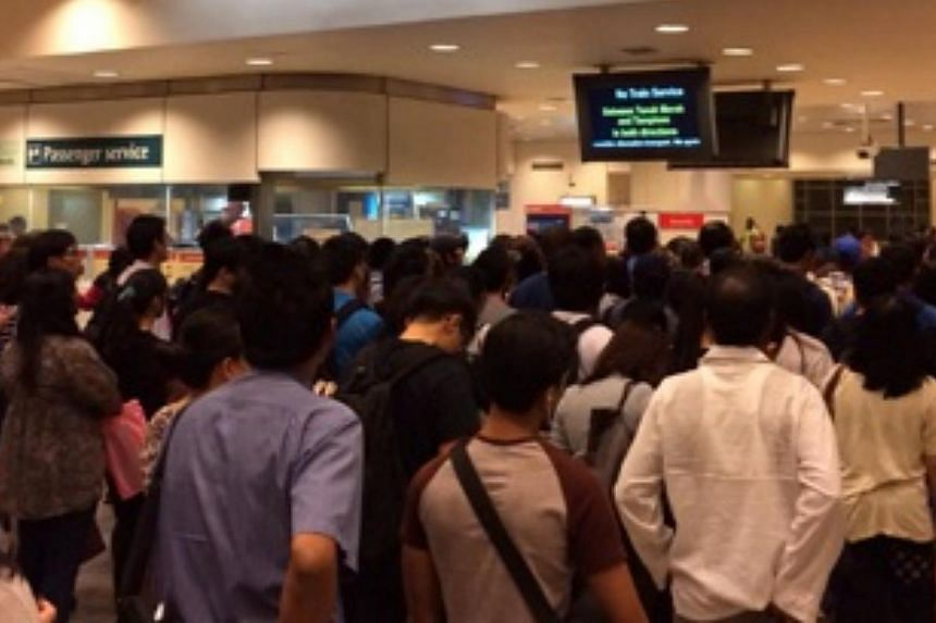 Tanah Merah MRT station, where commuters were told to alight.-- PHOTO:ADRIAN CHEONG